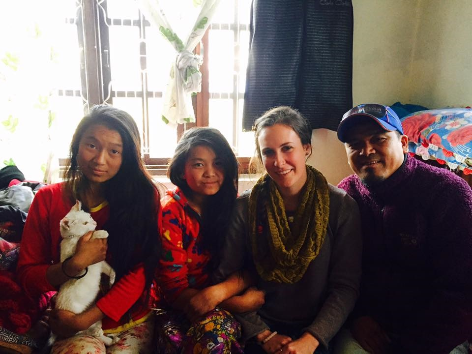 Tenji Sherpa (trekking guide) and daughters at his home in Kathmandu