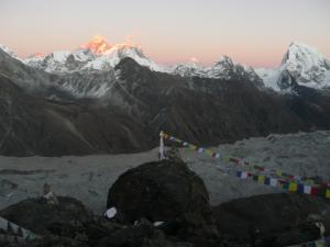 Sunset view from Gokyo Ri with last light on Everest, Lhotse, and Makalu; three of the five highest mountains in the world