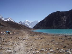 One of the turquoise lakes of Gokyo . . . there are five large lakes above 15,000 ft. in the Gokyo Valley, all set in a row and each with its own unique variant on the color turquoise