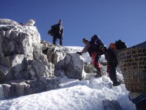Approaching the summit of Cho La, 17, 500 ft . . . taking the Cho La between Gokyo and Lobuche saves three days