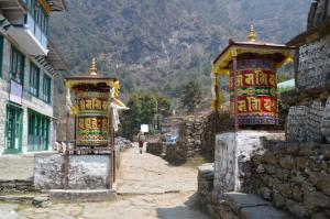 New prayer wheels . . . the Everest Region is heavily embellished with Buddhist iconography and Himalayan art
