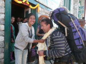 Receiving a grand sendoff from friends in Lukla