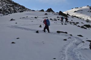 Switchbacks make the trail easier . . .