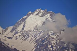 It's believed that this is Paldor Peak, one of the easier Himalayan climbs
