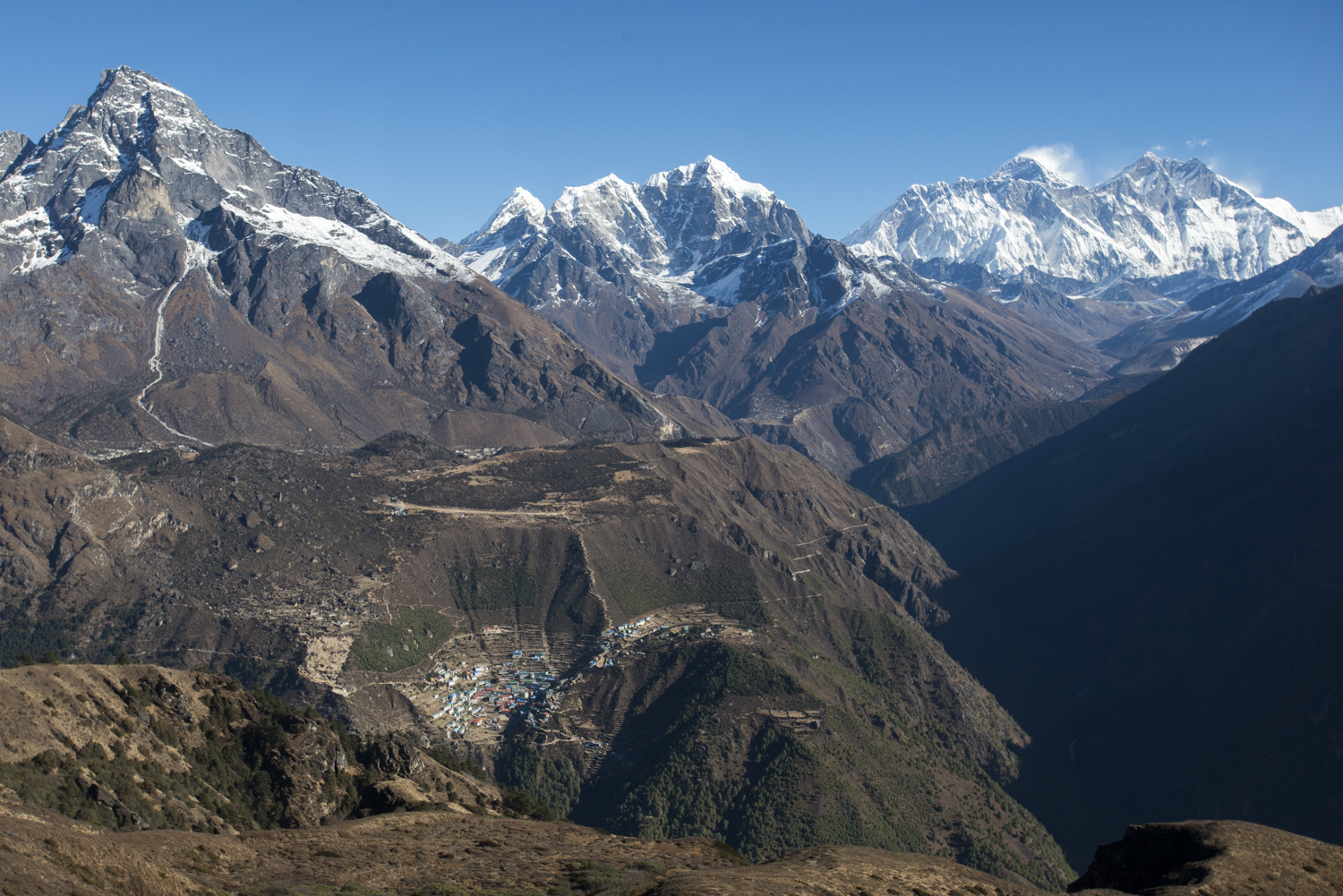 The view from Kongde Hotel to Namche Bazaar and Mt Everest