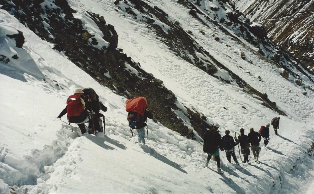 Negotiating a snowy trail on the Annapurna Circuit near Thorong Phedi, 1999