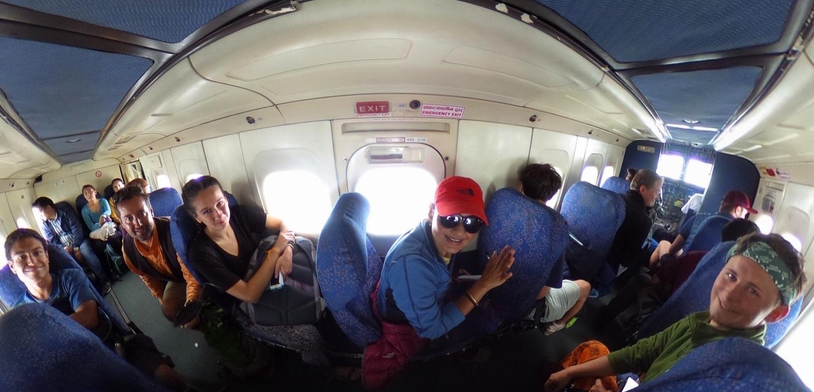Student Service Trekkers on flight from Lukla to Kathmandu