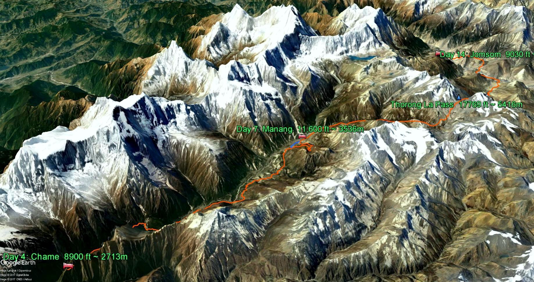 Google Earth routing through the Annapurna Circuit
