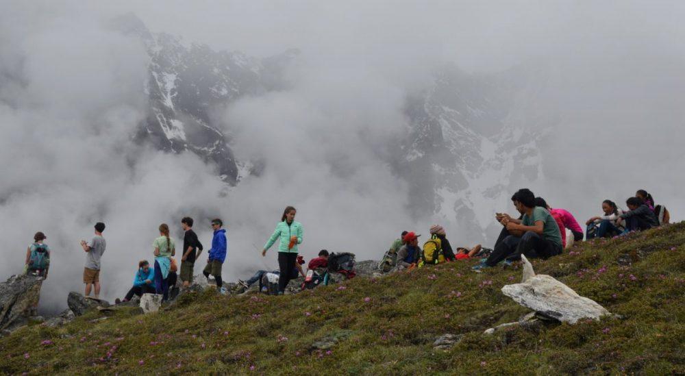 Students and Sherpas on Sumdur Ridge above Thame, Nepal