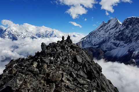 Two Sherpas on the summit of Sumdur Peak above Thame, Nepal