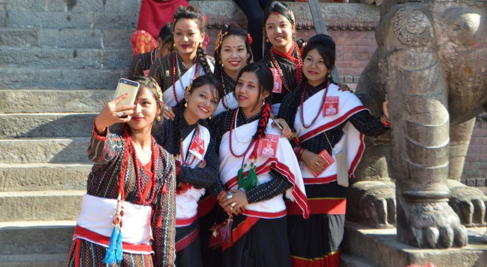 Girls taking a groupie and celebrating a fall festival in Kathmandu