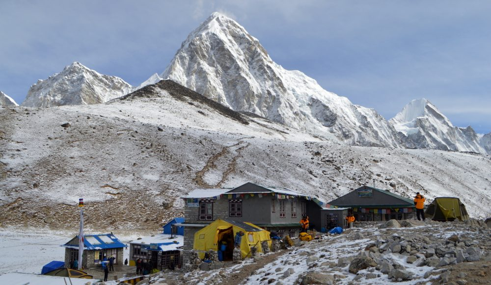 Gorak Shep, Kala Pattar and Mt Pumori covered in a light dusting of snow