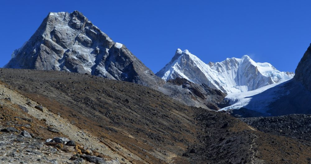 High country and trails near Cho La in the Everest Region of Nepal