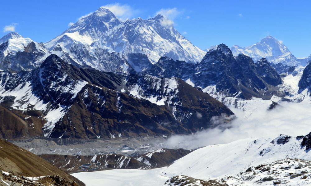 Renjo La viewpoint shows Mt Everest, the Lhotse-Nuptse Wall, and Makalu rise above a snowy Gokyo Valley