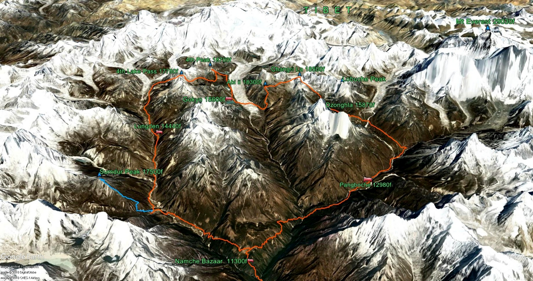 A Google Earth snapshot of the Everest View Explorer trekking route