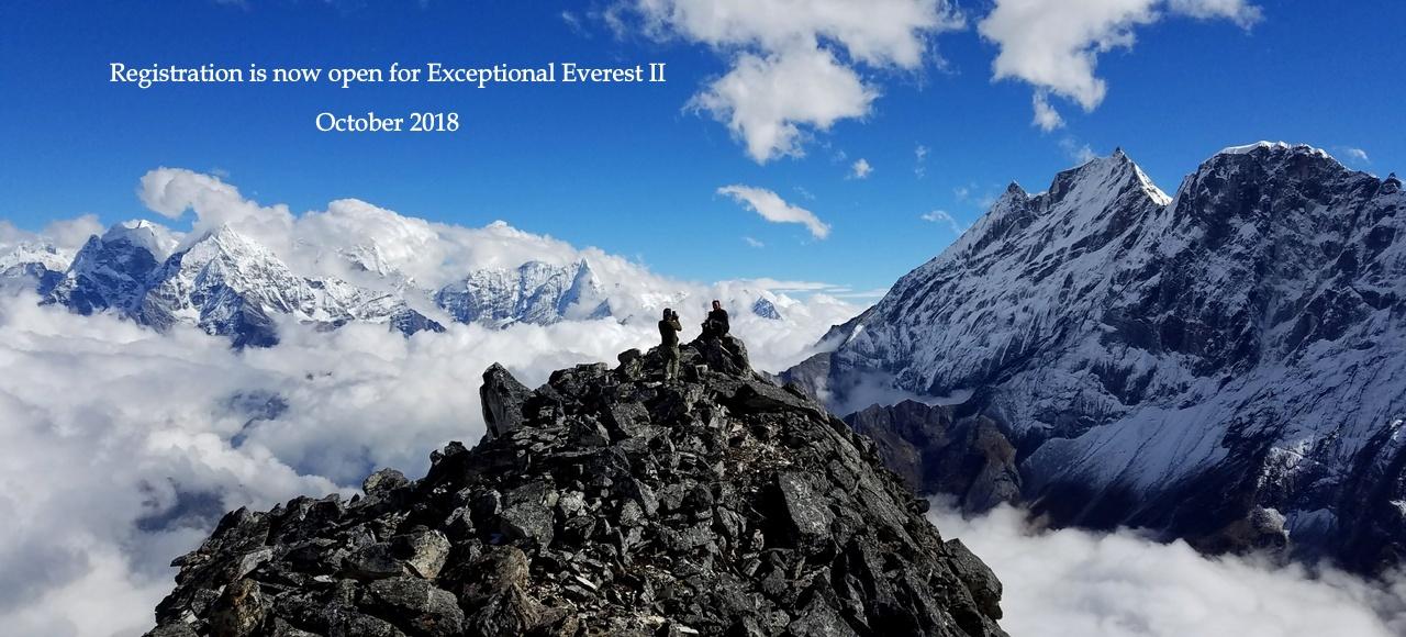 Sherpas taking photos on the summit of Sumdur Peak, above Thame Nepal
