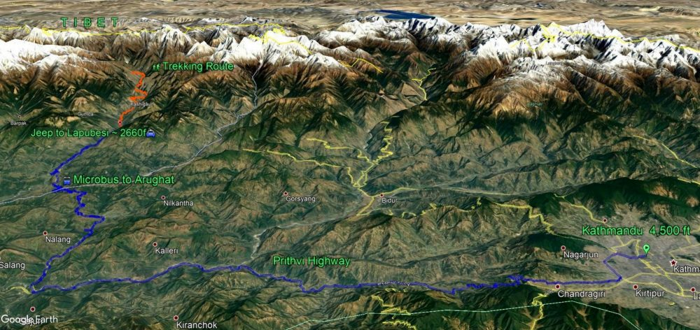 Google Earth snapshot of the road route from Kathmandu, Nepal to Lapubesi, Nepal