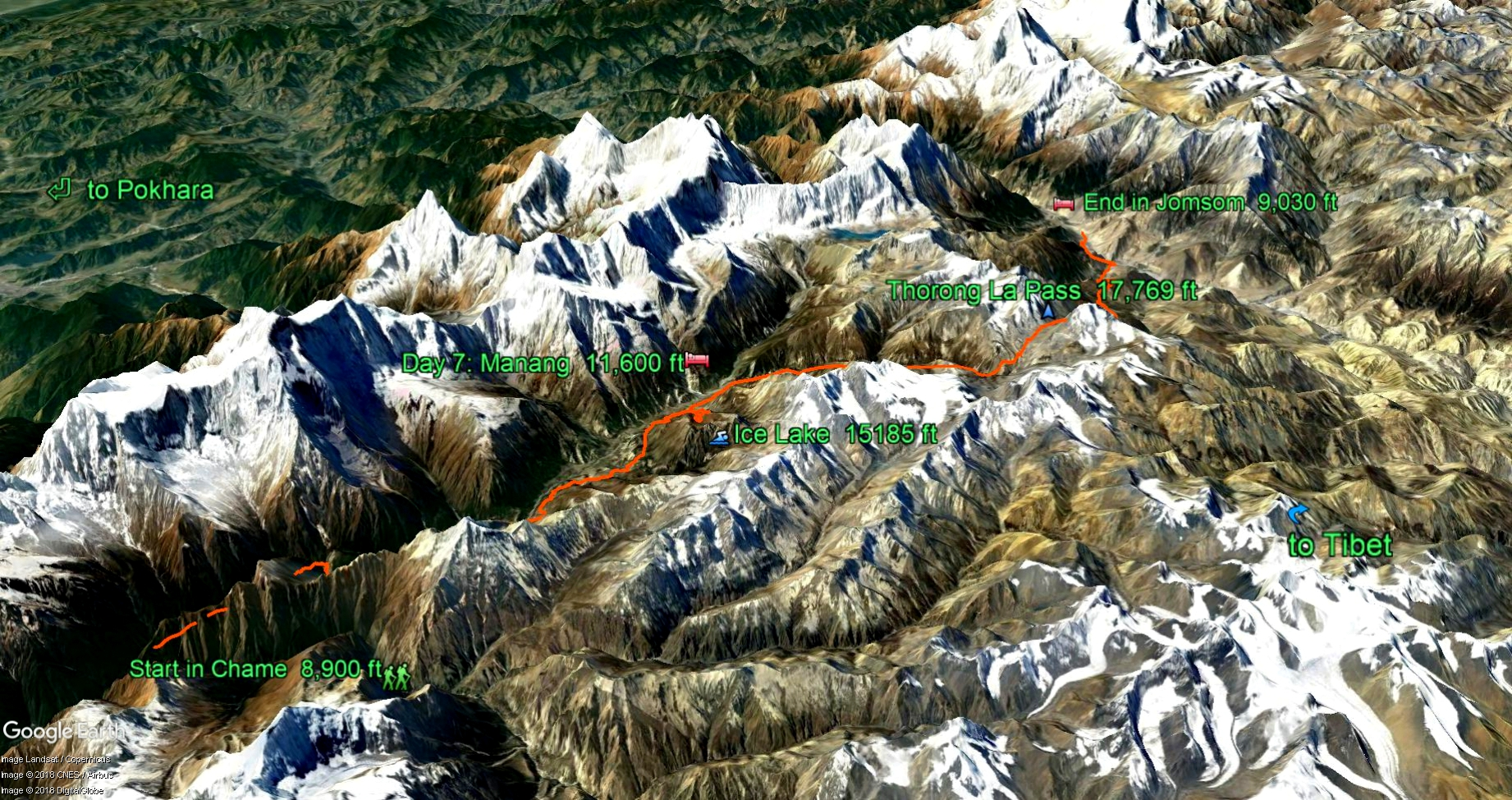 A Google Earth snapshot of our route through the Annapurna Himalaya