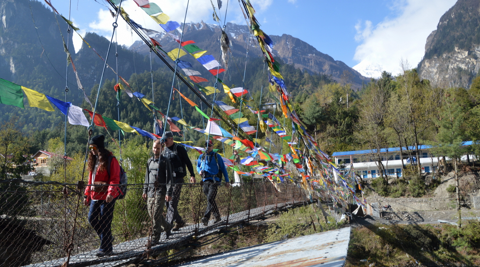 Four hikers walk across a cable bridge bedecked in prayer flags near Chame, Nepal