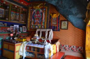 Inside the meditation cave . . . many high lamas have spent months or years here in solitude