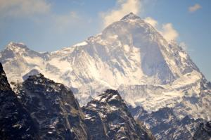 Mt. Makalu, the world's fifth highest peak and only a few miles from Everest . . . the approach route though is entirely different, but the two routes can be connected by going over a series of high, technically difficult passes