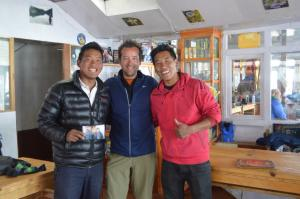 The Sherpa twins of the Namaste Lodge, with Jerry in Gokyo Village