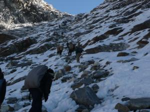 Climbing the Cho La . . . today it's simply a hike, but in snow and ice conditions, it becomes a climb best tackled with crampons and ice axes