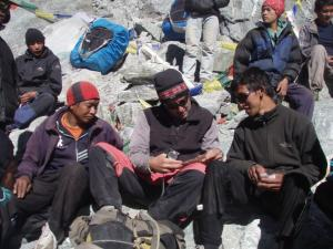 Busy rest area at the Cho La summit . . . Nepalis are endlessly social, so it's easy to make friends along the trail