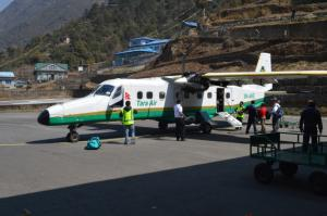 Loading up at the Lukla Airport . . . besides ferrying humans, the Lukla flights transport much of the cargo that sustains the Everest Region