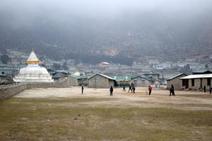 The school founded by Sir Edmund Hillary in Khumjung . . . here, the school's best athletes are playing cricket, a sport that's an obsession in Nepal