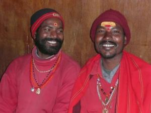 Indian holy men on pilgrimage in Lukla