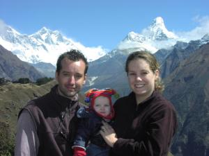 Jerry trekking with his daughter Anabelle and wife Mary Ellen, a few years ago :)  Ama Dablam is the gorgeous mountain behind Mary Ellen & Everest is far left, mostly behind the cloud