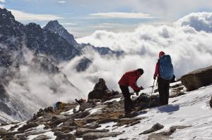 Prepping for a few minutes of picture-taking on the summit of Laurebina La