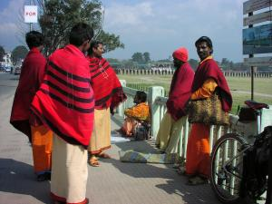 A group of Hindu holy men passing the day near Ratna Park