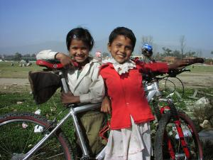A couple of girls in Ratna Park, the Central Park of Kathmandu, quite happy to be on camera