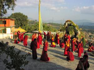 The monks of Kopan Monastery practicing their debate skills in the monastery courtyard