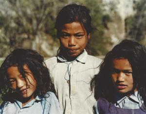 I found these girls walking home from school outside the city, in the northern part of  the Kathmandu Valley