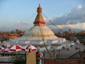The Boudhanath Stupa, Tibetan Buddhism's most holy shrine in Nepal