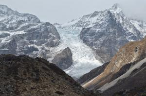 The Langtang Glacier tumbles down into the Valley just north of Kyanjin Gompa, the last settlement