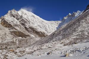 The tallest mountain in the area, Langtang Lirung, left, seen from Kyanjin Gompa