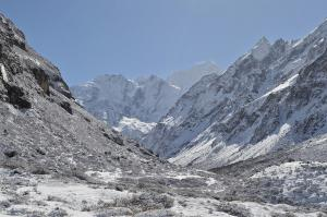 Gangchempo, the Fluted Peak with snow pleats, center