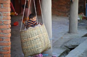 Boy in a basket