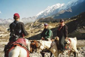 Taking a side trip to Marpha to sample some apple brandy was easier and faster on these lightweight ponies .  The Kali Gandaki Valley is considered by many to be the deepest valley in the world . . . the monster massifs, Annapurna I and Daulaghiri, tower 3.5 vertical miles above the the valley floor.