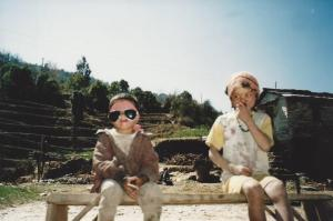 The little guy on the left apparently takes UV protection quite seriously