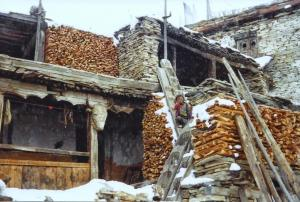 """When you live at 12,000 ft, you can never have enough firewood ~ notice the """"ladders"""" hewn out of logs"""