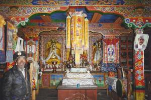 Inside a rather garish, but not unusually so, monastery along the trail