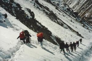 The approach to Thorung Phedi looks a bit slippery on this day . . . reasonable enough for February in the High Himalaya