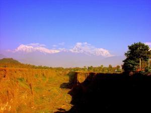 The Annapurna Range as seen from a rift in the earth near the Fulbari Resort, Pokhara