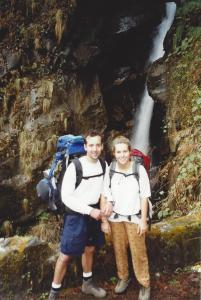 The first few days of the Annapurna Circuit follow the gorge of the Marsyangdi Valley ~ Jerry and his then girlfriend, Mary Ellen